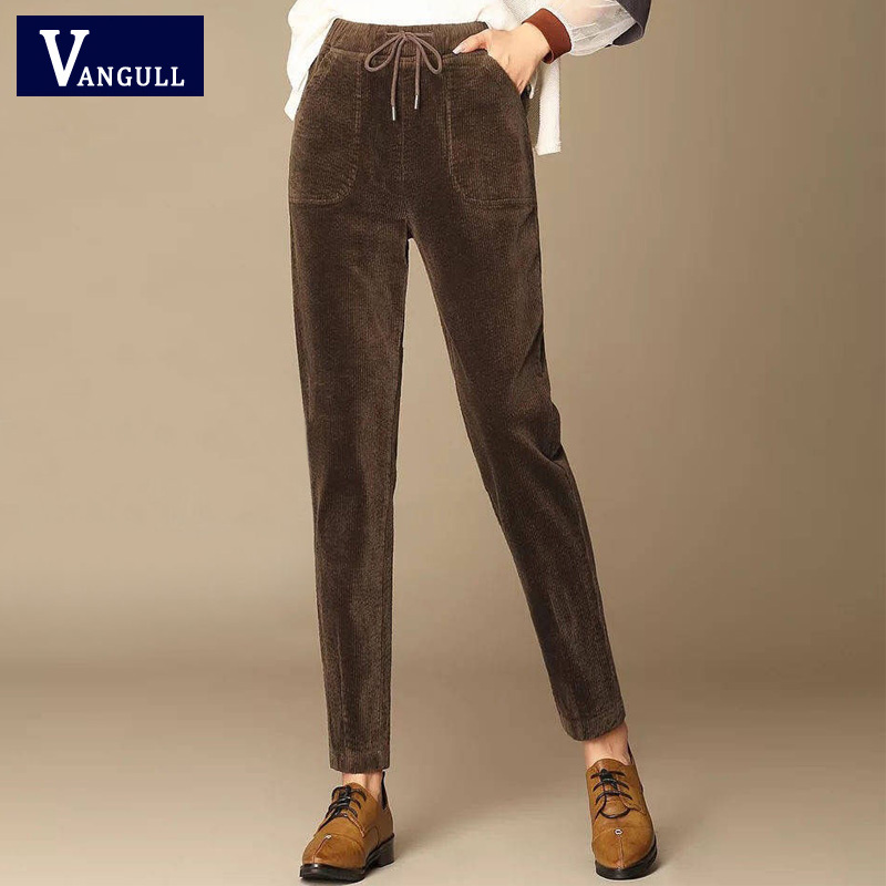 Vangull Corduroy Women High Waist Pants  Autumn Winter Solid Elastic Waist Trousers Cotton  Casual Fashion Slim Pencil Pants