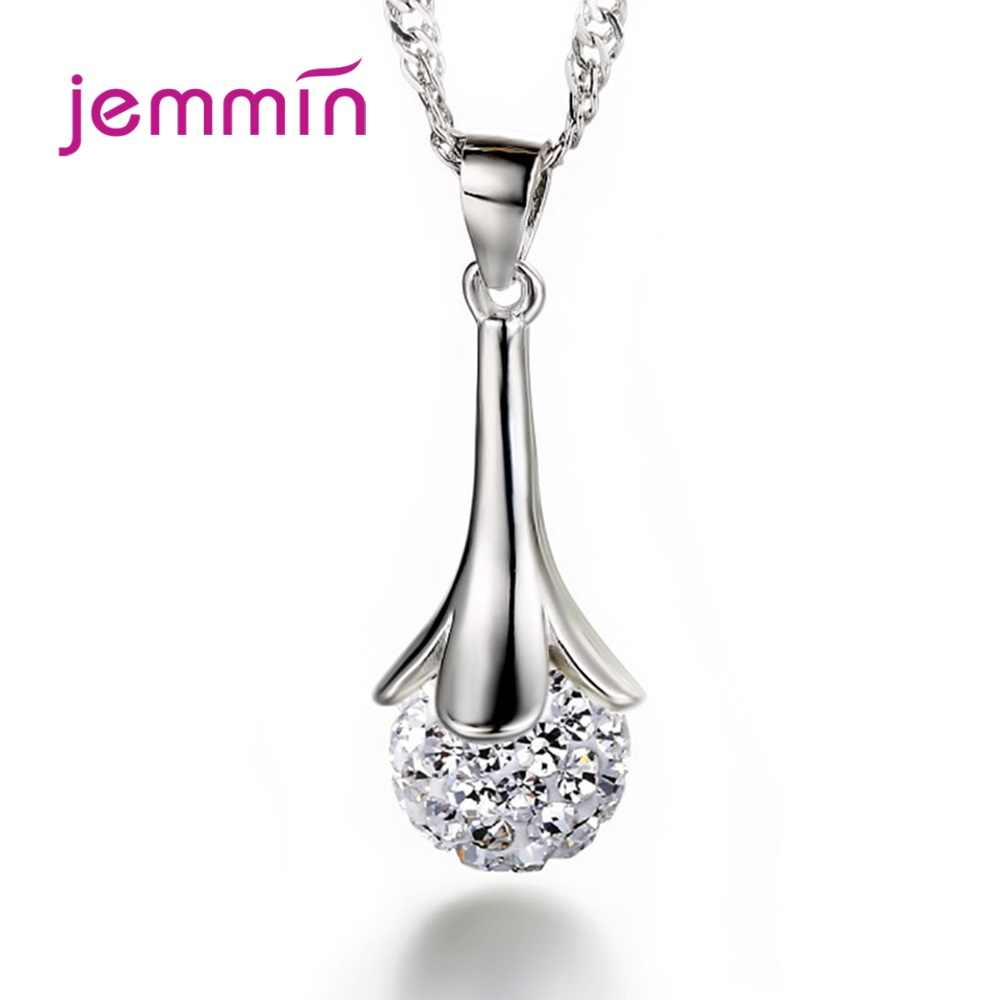 Shiny 925 Sterling Silver Long Chain Necklaces Ball Temperament Pendant Necklaces For Women Wedding Party Choker Friendship Gift