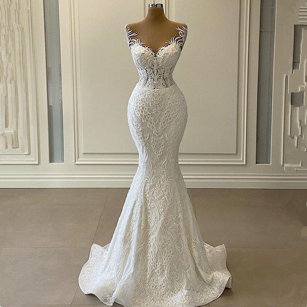 Luxe 3D dentelle sirène Robe de mariée 2021 perles romantiques Tulle cou Mariage robes de mariée Robe de Mariage