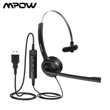 цена на Mpow USB Wired Headset Stereo 3.5mm Headphone For Computer With Mute Function Noise Cancelling Mic Volume Control For Notebook