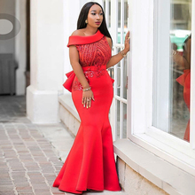 African Dress For Women 2019 New Africa Explosion Space Layer Slant Shoulder Ruffles Sequins Party Dresses Gown Fishtail