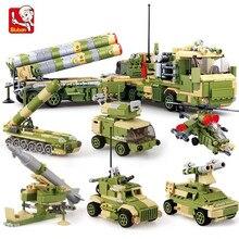 6Pcs/lot Military S400 MISSILE LAUNCHER Vehicle Truck Tank Armour Model Building Blocks Sets ARMY Bricks Playmobil Kids Toys