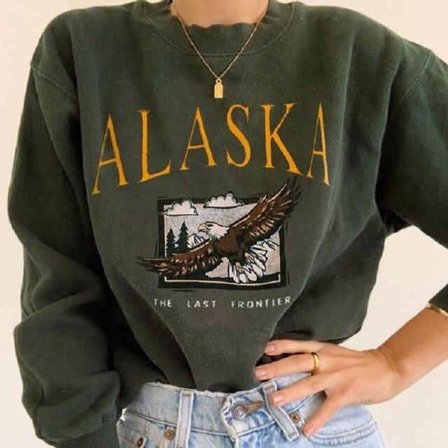 Eagle Letter Print White Brand USA Vintage Oversized Crewneck Sweatshirt Women Plus Size Fashion Tops Hip Hop Sports Girl Winter 3