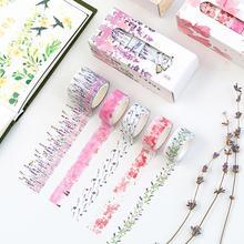 Stickers 5Pcs Beautiful Flower Washi Paper Tape Stickers DIY Scrapbook Diary Album Decor