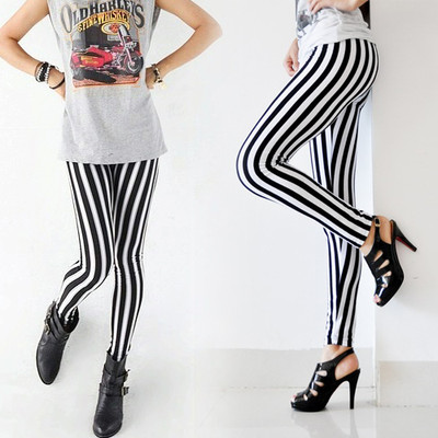 Women Sexy New Lady Fashion Skinny Chic Look Vertical Leggings Black And White Spandex Zebra Stripe Pants Lovely New 2019