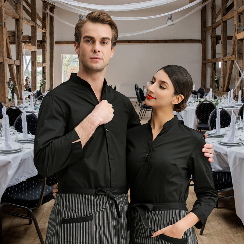 2019 Summer/Autumn Restaurant Waiter Shirt Hotel Waitress Long Sleeve Work Uniform Large Size Hotpot Working Clothing Wholesales