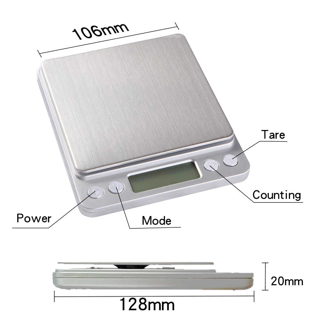 LED Waga cyfrowa Mini kieszonkowy precyzyjna biżuteria ze stali nierdzewnej wagi elektroniczne gramów wagi dla złota pieczenia gotowanie