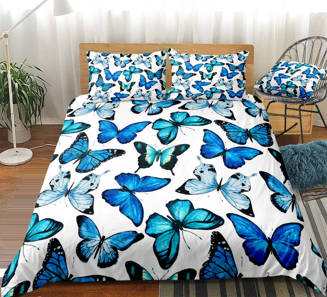3 pieces watercolor butterflies duvet cover set blue butterfly bed set white bedding kids girls quilt cover queen dropship