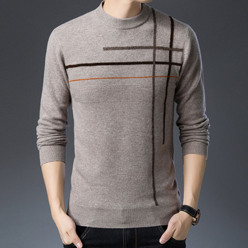 100% Wool Men Knit Tops Sweater Pullover Basic O Neck for Autumn Winter Crossed Stripes Fashion Casual BO20421231