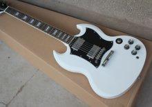 Sg-400 guitarra elétrica branca, corpo branco e pescoço, 22 peças de botões de jade, entrega gratuita com mala de viagem correspondente
