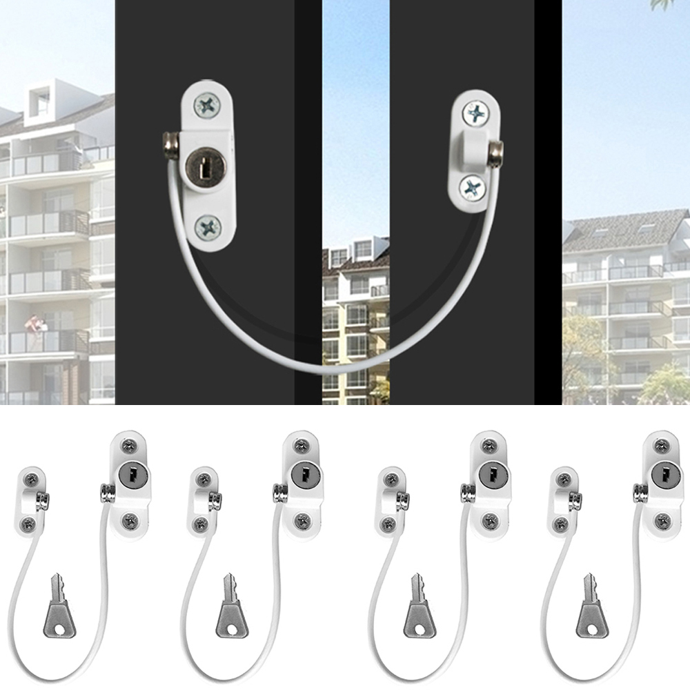 4Pcs/Set Baby Security Child Protection Lock Window Lock Stainless Steel Baby Door Retainers Infant Security Window Limiter