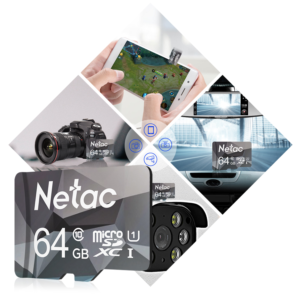 Netac Original Class10 Micro SD Smart TF Card 64GB 128GB 32GB 16GB 8GB U1 Memory Card Flash Card Mini Microsd TF/SD for Phone 4