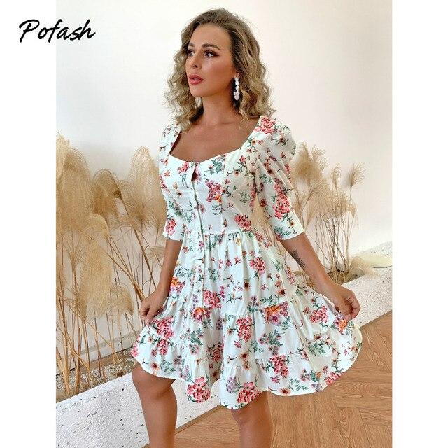 Pofash 2021 Floral Print Mini Dresses For Women Half Sleeves Patchwork Button Summer Dress Backless Ruffle Hemline Sexy Vestidos 3