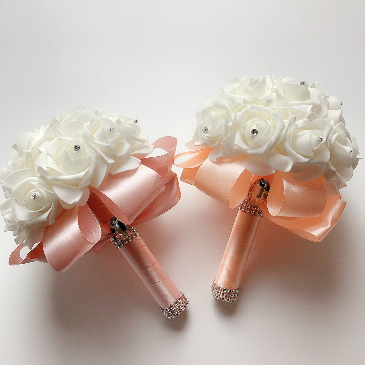 2019 Good Quality Cheapest PE Rose Bridesmaid Wedding Foam flowers Rose Bridal bouquet Ribbon Fake Wedding bouquet de noiva 3