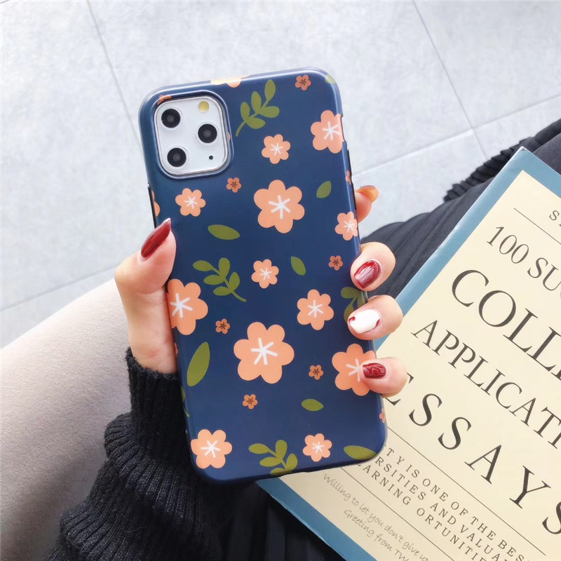Blue Art Flowers Leaf Phone Case For Iphone 11 Pro Max X Xr Xs Max 6S 7 8 Plus Retro Floral Soft Tpu Silicon Case Back Cover