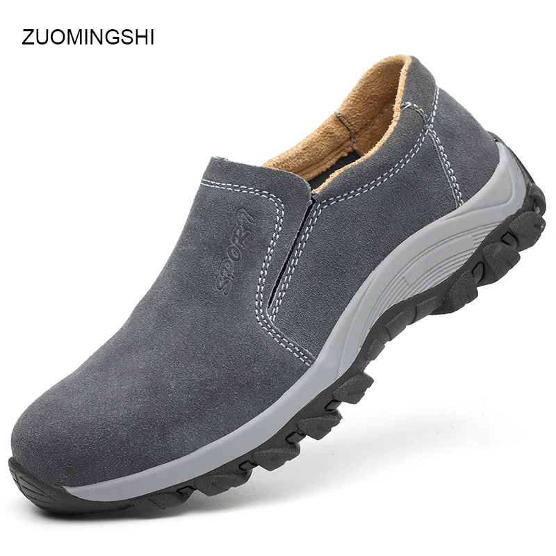 Non Metallic Safety Shoes Men Leather Boots Puncture And Smash Proof Work Boots Lightweight Non-slip Shoes Rubber Sole