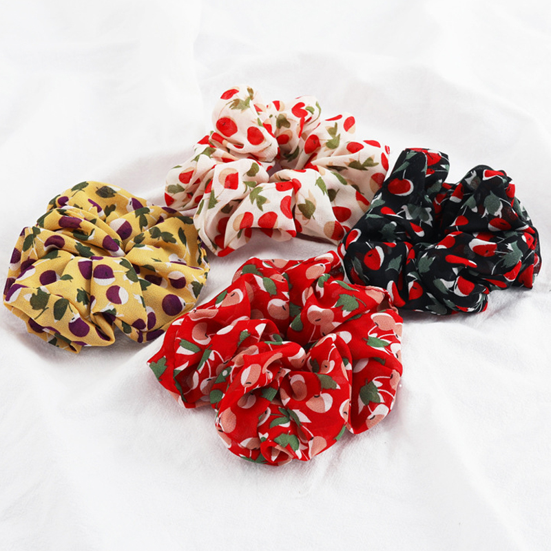 1Pcs Fruit Cherry Print Chiffon Hair Scrunchies Elastic Hair Bands Women Ponytail Holder Rope Ties For Girls Hair Accessories