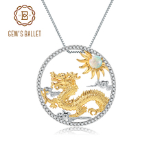 GEM'S BALLET Natural African Opal Gemstone Chinese Zodiac Jewelry 925 Sterling Silver Flying Dragon Pendant Necklace For Women