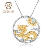 Gems Ballet Natuurlijke Afrikaanse Opaal Edelsteen Chinese Zodiac Sieraden 925 Sterling Zilveren Vliegende Draak Hanger Ketting Voor Vrouwen