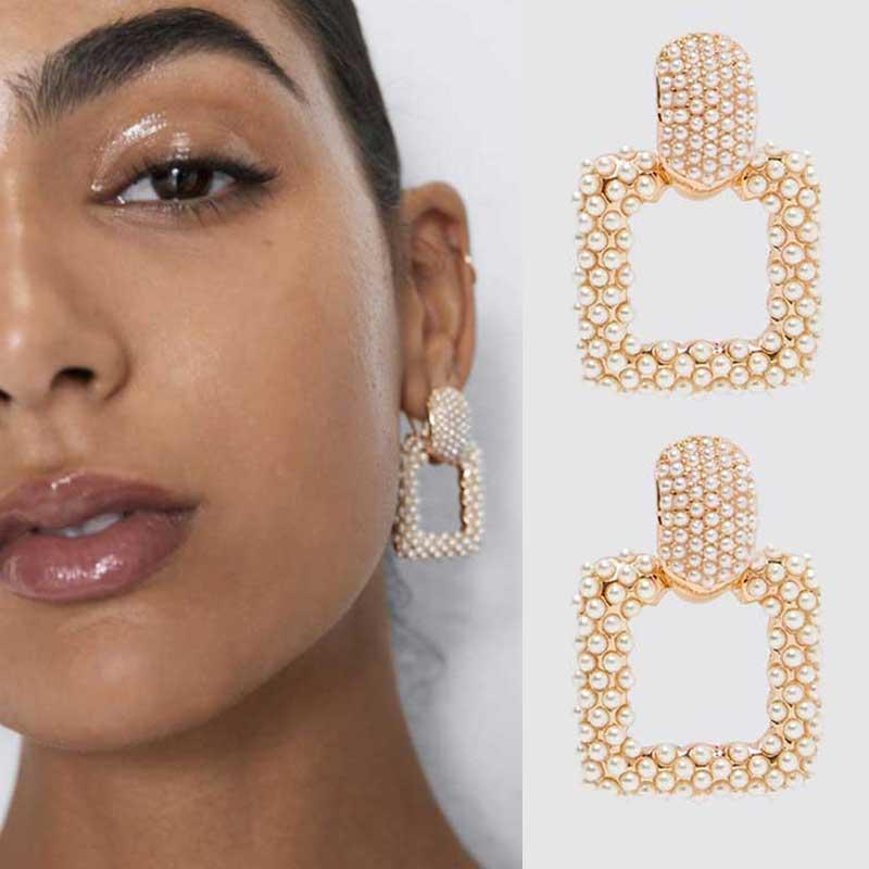 Flatfoosie ZA Crystal Earrings 2019 Newest Handmade Boho Simulated Pearl Statement Earrings For Women Wedding Party Gifts Bijoux