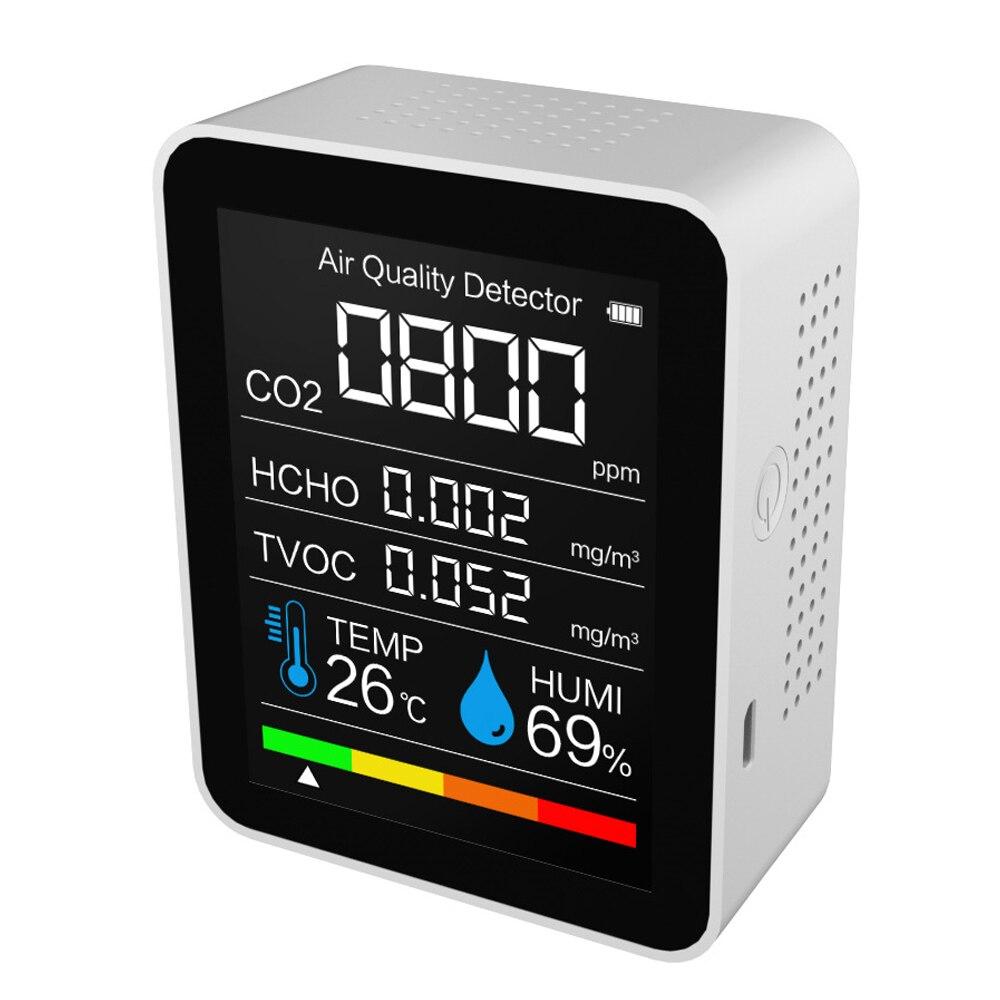 Портативный детектор CO2, Датчик качества воздуха, интеллектуальный датчик температуры и влажности, тестер, монитор углекислого газа, TVOC фор...