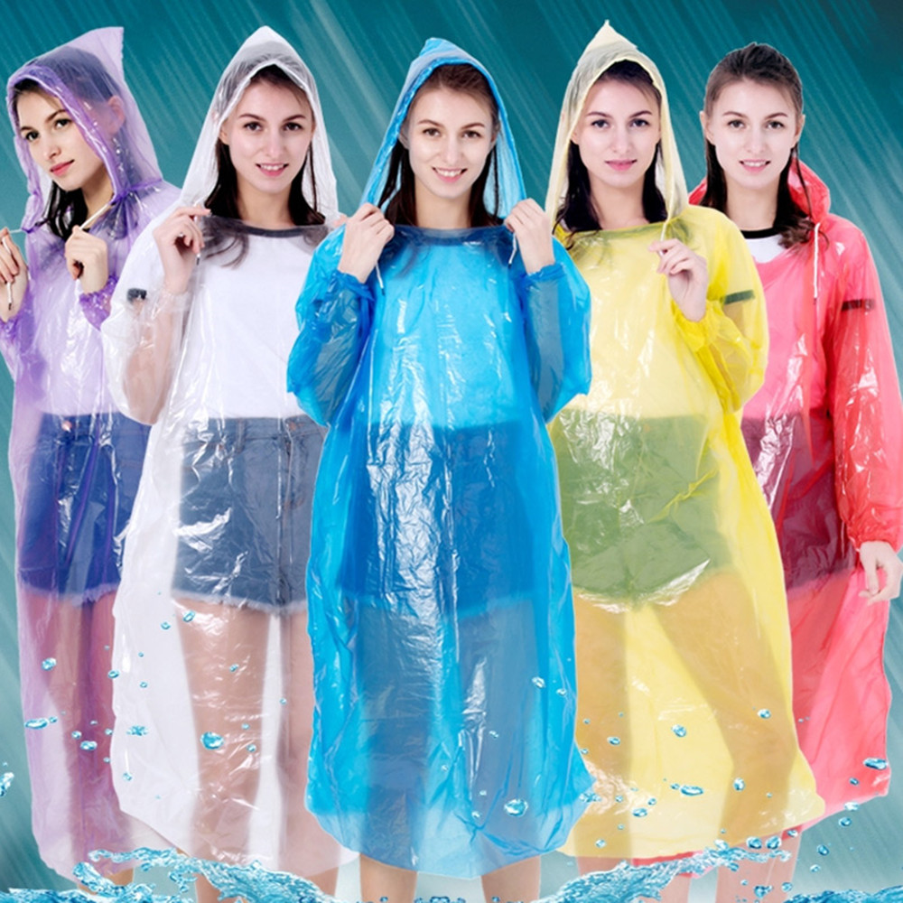 Multi-purpose Outdoor Poncho Raincoat Plastic Disposable Raincoat PE Protective Raincoat Safety Raincoat Random Colors Brand New