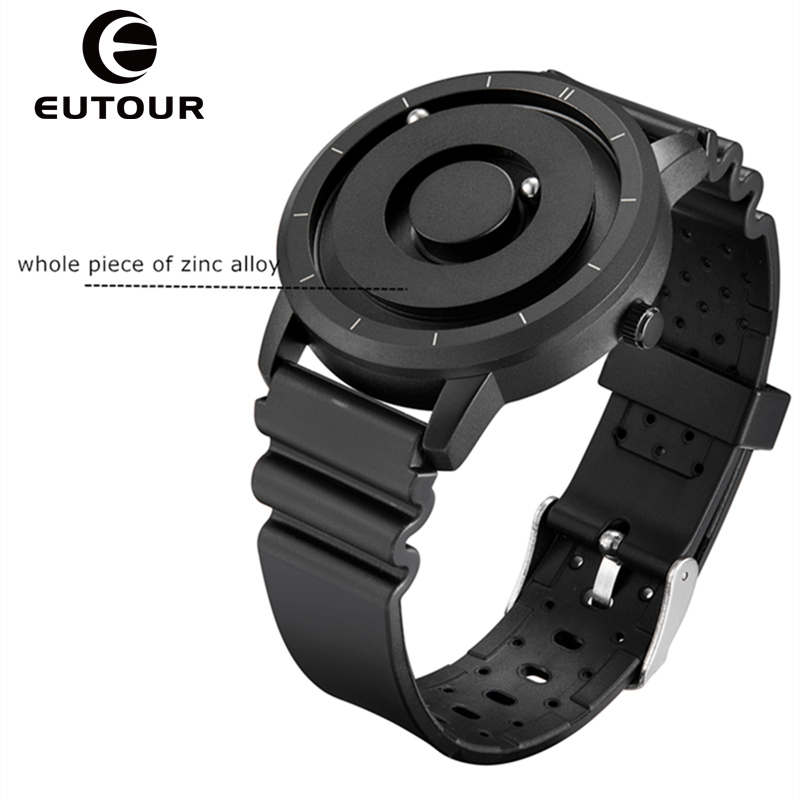 EUTOUR New Innovative Blue Gold Magnetic Metal Multifunctional Watch Men's Fashion Sports Quartz Watch Simple Men's Watch-in Quartz Watches from Watches