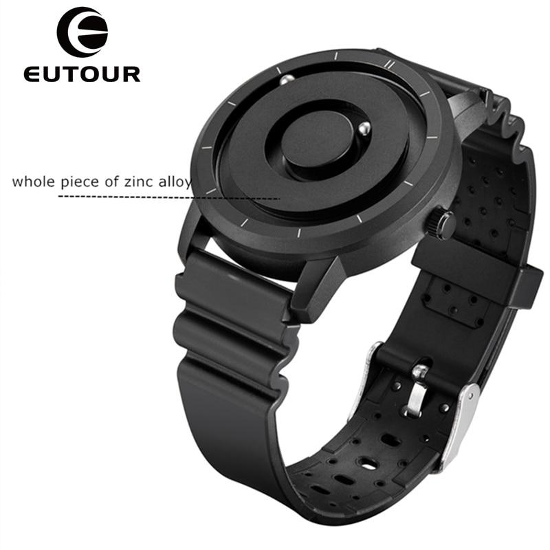 Relógio de Quartzo Eutour Novo Inovador Azul Ouro Magnético Metal Relógio Multifuncional Moda Masculina Esportes Simples Masculino