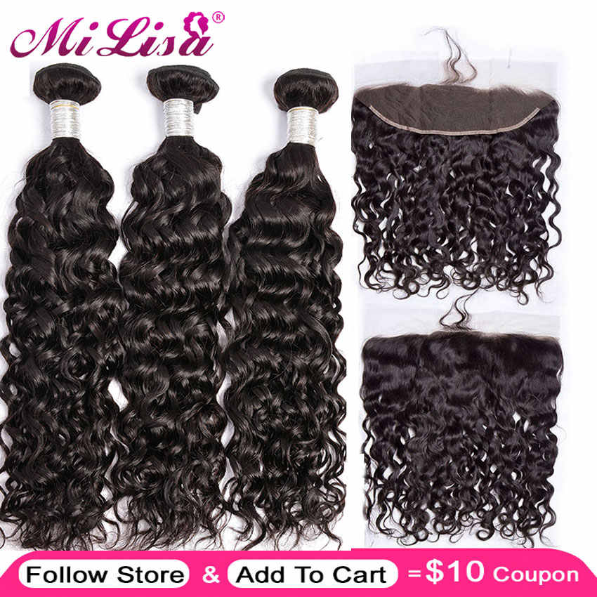 Brazilian Water Wave 3 Bundle With Lace Frontal Closure Mi Lisa Remy 100% Human Hair Weave 13x 4 Lace Frontal With Bundle Deal