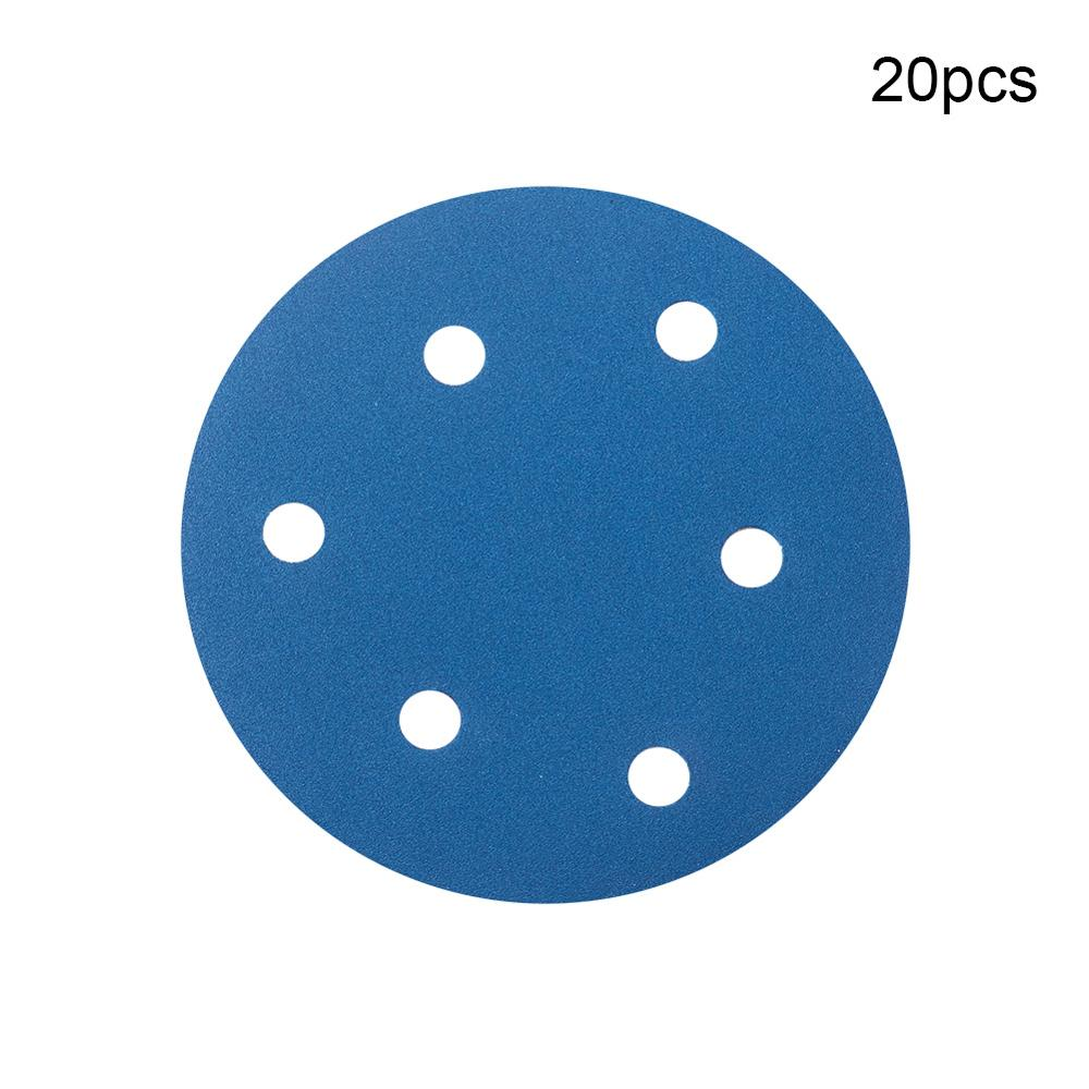 New 20pcs 6-Hole Hook And Loop Sanding Discs 5 Inches Dia Grit 100~600 Aluminum Oxide Flocking Round Sandpapers Polishing Tool