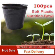 100 pçs redonda nutricional preto plástico berçário potes mudas plantas potes jardim para casa transplante vasos de plantas