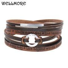 Wellmore модные Очаровательные кожаные браслеты для женщин и