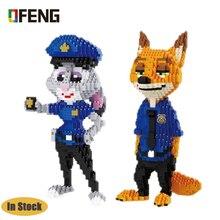 Balody police Rabbit and fox DIY Mini Building blocks figure Bricks Toys for Children Gifts