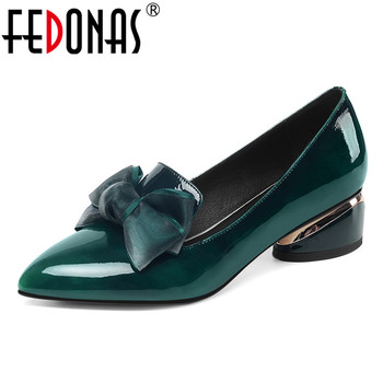 FEDONAS Elegant Women Spring Summer Shoes Women Genuine Cow Patent Leather Pointed Toe Butterfly-knot Pumps Dancing Shoes Woman