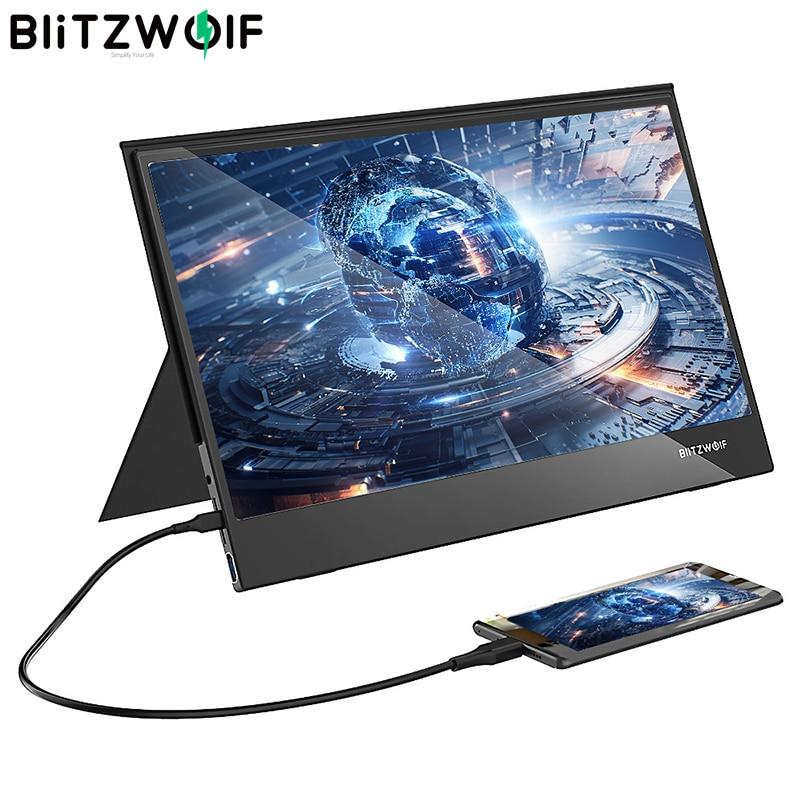 BlitzWolf BW-PCM5 15.6 inç dokunmatik taşınabilir bilgisayar monitörü oyun ekran akıllı telefon Tablet dizüstü oyun konsolu