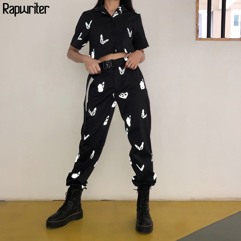 Rapwriter Fashion Reflective Butterfly Pants For Women Summer 2020  Streetwear High Waist Pants Joggers Women Pencil Trousers