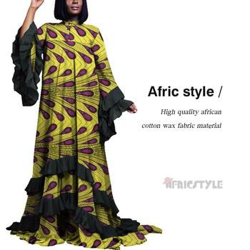 цена African Lady Dashiki Dress Traditional Print Dresses African Bazin Tribal Dress With Falbala Long sleeve WY5357 онлайн в 2017 году