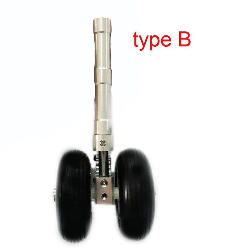 1PC Aluminum Alloy Retractable Shock Absorption Landing Gear With Wheels Double For Fighter RC Drone Airplane Spare Parts image