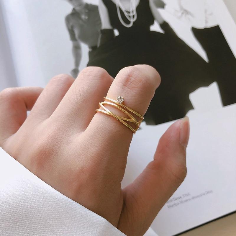 Silvology 925 Sterling Silver Multi-layer Line Rings For Women Single Zircon Elegant Line Design Rings Luxury 925 Gold Jewelry