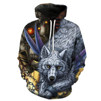 Wild wolf print with cap pocket insert men's fashion with hat men's clothes