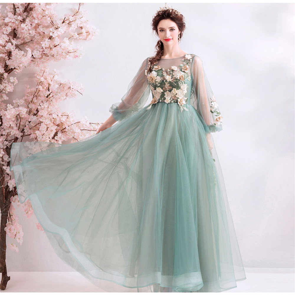 Prom Dresses 2019 O-neck Mesh Perlen Kleid Long Sleeve Crystals Evening Formal Party Gown Sexy Women Applique Flower Fairy Dress