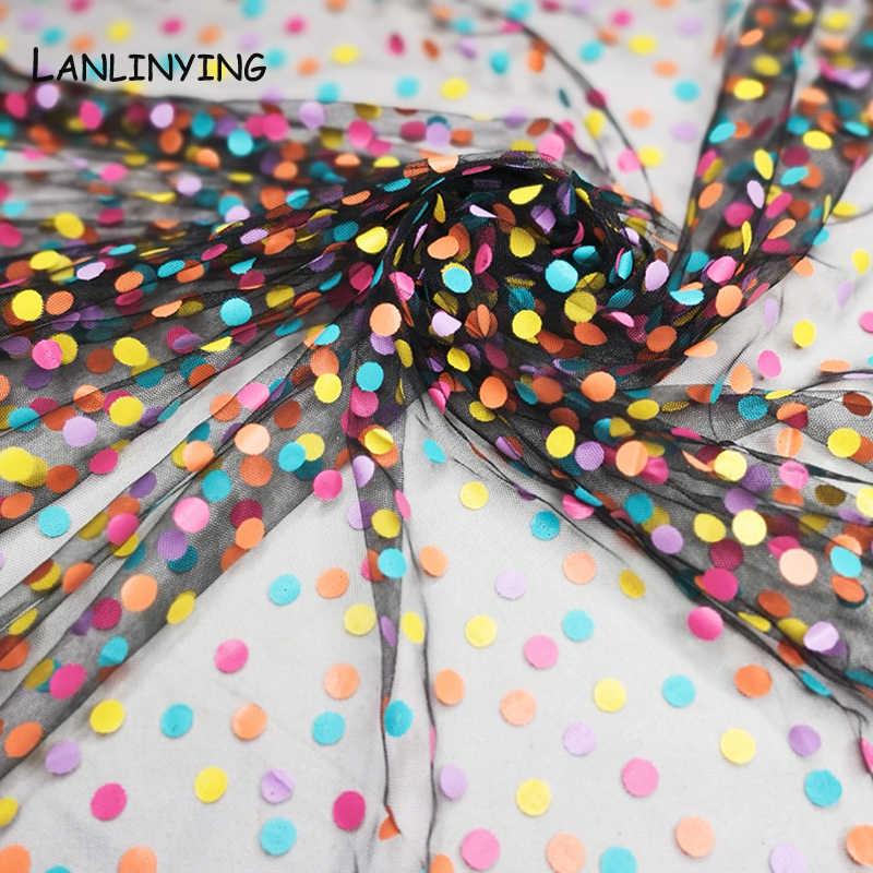 NEUE Ankunft Weiche Süße Bunte Tüll Mesh Spitze Stoff Polka Dot Print Hochzeit Dekoration Stoff DIY Handgemachte Röcke D741