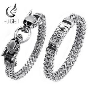 Image 1 - Fongten Bracelet Punk avec crâne, rétro pour hommes, Bracelet en acier inoxydable, breloque argent, Bracelet damitié, large, bijoux pour hommes