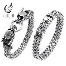 Fongten Retro czaszka Punk bransoletka mężczyźni amulet ze stali nierdzewnej Sliver bransoletka przyjaźń bransoletki szeroki bransoletka biżuteria męska