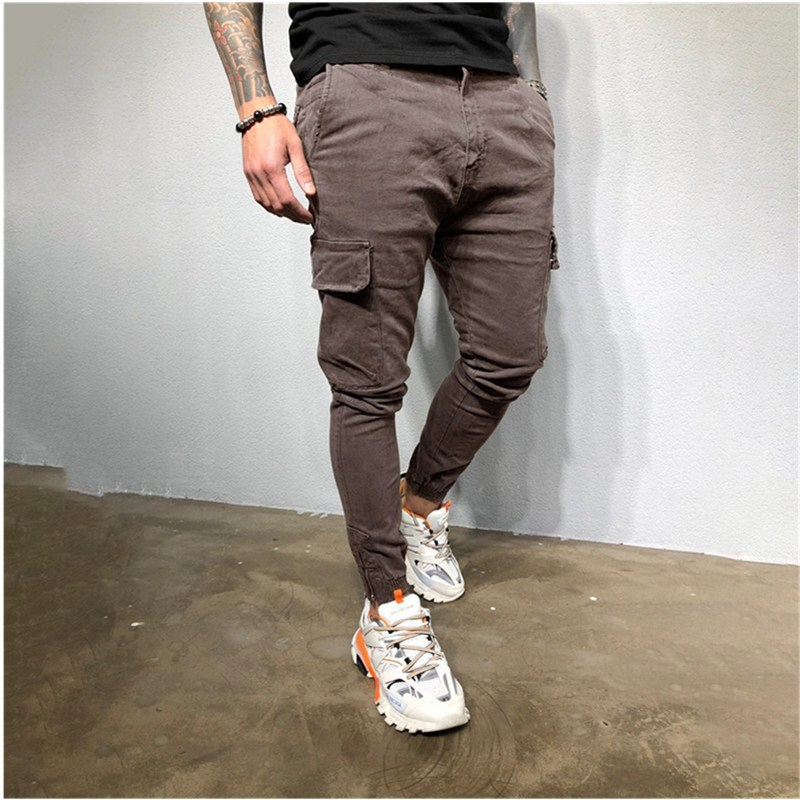 2020 Autumn MEN'S Sports Pants Beam Leg Zipper Woven Pants Casual Pants Men's T355