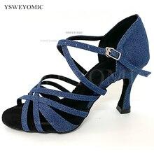 Latin-Shoes Comfortable Salsa High-Heels Women Winter Indoor Denim with Wholesale-Price
