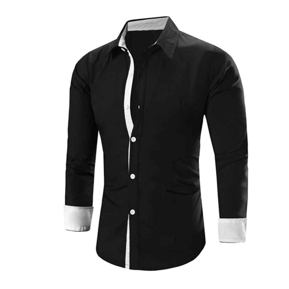 2019 メンズカジュアルシャツスリムフィットメンズカジュアルシャツ長袖フォーマルドレスシャツ長袖シャツスリムフィットトップ