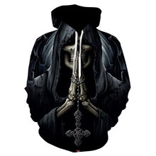 Мужская толстовка с 3d принтом черепа черная в стиле хип хоп