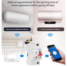 1P 16A WiFi قاطع الدائرة الذكية التلقائي recloser الزائد وحماية ماس كهربائى لأمازون اليكسا وجوجل الرئيسية