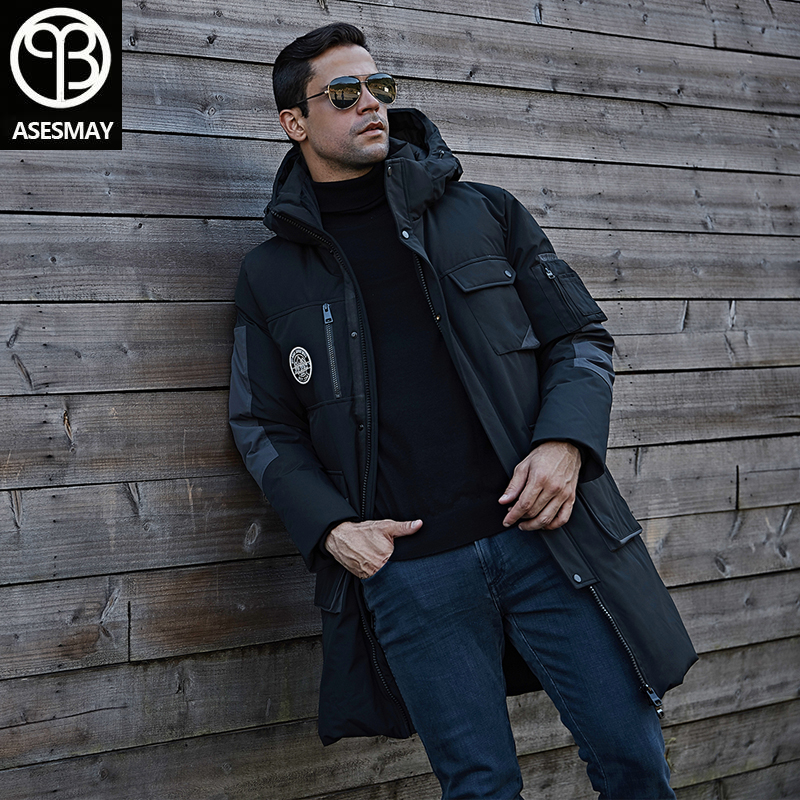 Asesmay 2019 Men Down Jacket Winter Coat Long Men's Parkas Hooded Thicken Warm Quality Jackets Multi-pocket Tracksuits Outerwear